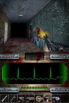The game purveyors suggest you play Dementium: The Ward in the dark while wearing headphones. Be forewarned, this game will scare the living piss out of you. Courtesy of Gamecock Media.