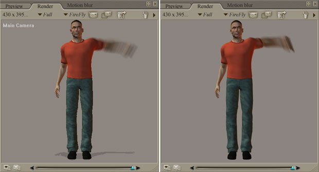 [Figure 4a] 2D motion blur (left); [Figure 4b] 3D motion blur.