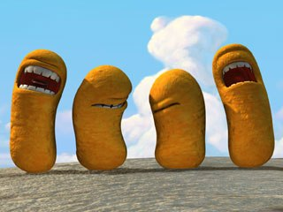 Animating vegetable pirates may appear easier than animating humans, but making limbless figures walk, talk and sing is a challenge. Above, a hoard of evil Cheese Curls.