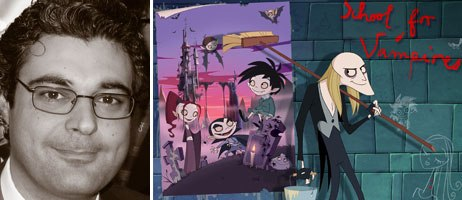 Gianluca Bellomo (l) of Cartoon One, which sponsored the KidsTown Pavilion, was selling School for Vampires, a hit on French, German and Italian television. Courtesy of Jan Nagel (l); © Hahn Film AG/Cartoon One S.r.l./ARD/RAI-Fiction.