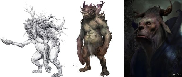 The original book illustrations inspired Alzmann, but the artists had to work the design to give it more of a photoreal quality. For Alzmann, Mulgarath was a fun design because hes a big bull of a character.