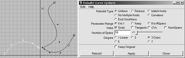 [Figure 8] CV curve cut (l). [Figure 9] The Rebuild Curve Options window.
