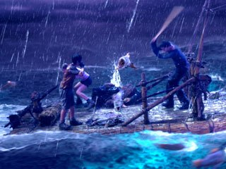 Frantic Films VFX's main contribution was the CG ocean for the raft storm sequence, which included rain, fully articulated creatures, water surface simulation, water spray dynamics and blowing mist. Courtesy of Frantic Films.