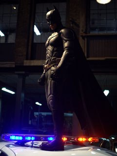 The new Batsuit features a complex exoskeleton of sliding armor that required a separate animation rig running on top of the character rig. The Batcape, however, didn't change from Batman Begins.