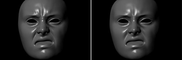 Scans of Emily with displacements (left) and without.