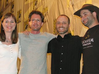 Clone Wars was represented by producer Catherine Winder, editor Jason Tucker, co-writer Henry Gilroy and director Dave Filoni. Courtesy of Rick DeMott.