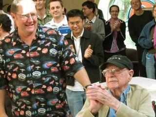 John Lasseter and Ollie Johnston at Walt Disney Animation Studios on the occasion of Ollie's 94th birthday. © Disney.
