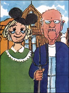 A 1998 Xmas card in which Ollie depicted himself and Marie as Grant Wood's iconic characters. Courtesy of Tim Hodge.