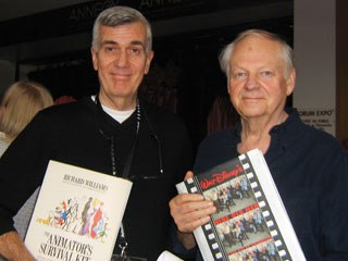 John Canemaker (l) and Richard Williams peddle each other's books. All photos courtesy of Nancy Denney-Phelps.