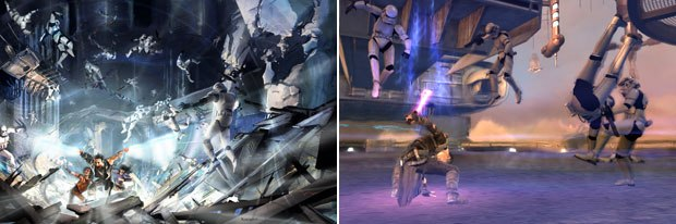 One of the key elements of the game is Force blasts, rendered here in the concept phase and the final gameplay.