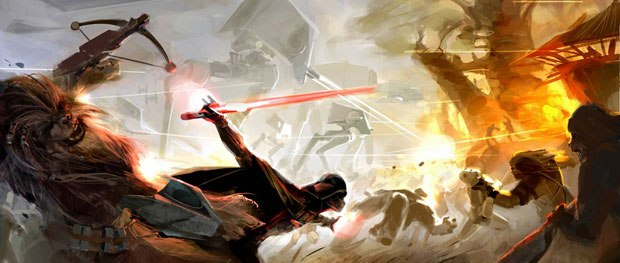 In this concept art, Darth Vader is shown to be a powerful force in the game's story.