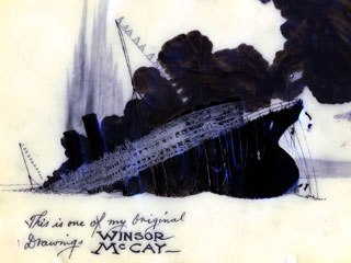 The Sinking of the Lusitania by Winsor McKay represented the high point of World War I animated propaganda films. Courtesy of the Cartoon Art Museum, from the collection of the Glad Family Trust.