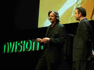 Oddworld creator Lorne Lanning (l) talks to the crowd about the increased application of science and physics in the artistic process.