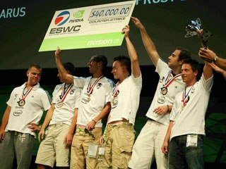 Team PGS.MYM of Poland celebrates winning the gold in the Electronic Sports World Cup tournament.