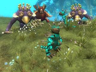 Players take control of their creatures' fates as they guide them through six evolutionary phases: Tidepool, Creature (above), Tribal, City, Civilization and Space.