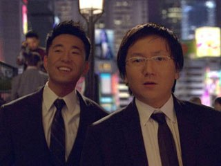 Maya and a bit of Massive were used for a scene in Tokyo in the first episode. Hiro (Masi Oka) (right) and Ando (James Kyson Lee) are on green screen and the whole city of Tokyo was created behind them.