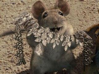 Placing the diamond collar on the rat and having it move believably against the animal's fur was difficult. Furrocious was used so that the necklace could interact with the fur without the fur piercing the diamonds.