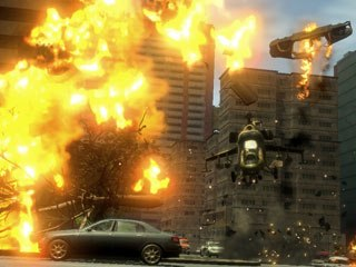 In between Mercenaries 2 missions, players can roam the open world to find ammo, fuel, guns and money. In one course, helicopters throw cars through the sky for players to blow up in the air. © EA.