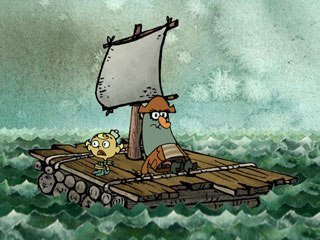 Flapjack delights in mixing media and throwing stop-motion animated moments into an otherwise 2D environment. It uses real wood carved puppets and letters as well as a sea of cut-out paper waves.