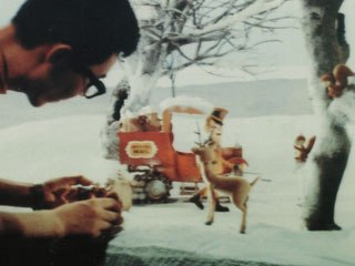 Did Rankin/Bass know that they were using myths for these specials? Probably not, as many would claim that these myths exist in the collective consciousness of humankind. An artist adjusts a scene for Rudolph, above.