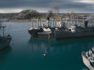 The challenge of the Darwin sequence was to create a full CG environment, including terrain, period buildings, vegetation and a wharf full of ships of all shapes and sizes. Courtesy of Animal Logic.