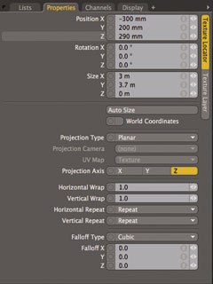 [Figure 2] Adjusting the newspaper clipping settings in the Texture Locator vertical category of the Properties panel maps it on the mesh.