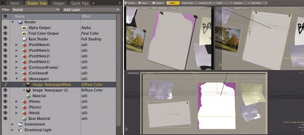 [Figure 3] By copying an applied image, you can simply change the image used but keep the existing settings (left). [Figure 4] Duplicating images is an easy way to create texture masks.