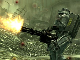 Combat in Fallout 3 is just awesome. The view can be switched from first or third person and it plays just like any shooter but with the added advantage of using the targeting device Pip-Boy 3000. © Betheseda Softworks.
