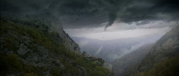 To create the Twister sequence from The Wizard of Oz, Peerless added flying debris and wind machines and atmosphere in post. Courtesy of Peerless Camera.