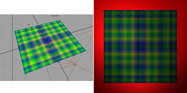 [FIGURE 1] A mesh plane acts as a piece of cloth for stitching with Seamour. [FIGURE 2] A quick render of a plaid piece of cloth.