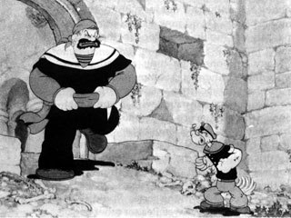 Popeye also took time out from battling Sinbad and other nemeses to take on the Japanese. © King Features Prods.