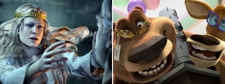 3-D used to be a separate department at Imageworks on Beowulf (left) and Open Season (right). © 2007 Paramount Pictures and Shangri-La Ent., LLC. All rights reserved, © Sony Pictures Ent.