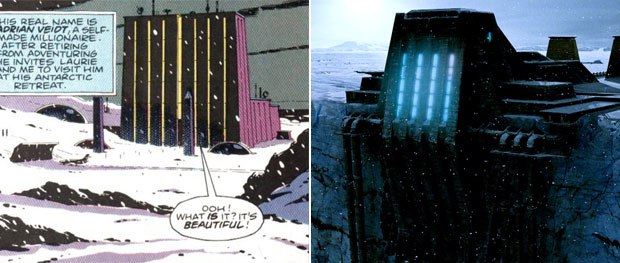 (Left) A frame from the graphic novel Watchmen of Karnak in the Antarctic as drawn by co-creator Dave Gibbons. (Right) The finished Karnak in the movie.