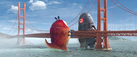 The Golden Gate Bridge set piece involved a 50-foot woman, 300-foot alien robot, 350-foot furry insect and a bridge that was the largest piece of rigging DreamWorks had ever done.