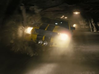 Cars were shot in live action with the environment of the tunnel system created around them.