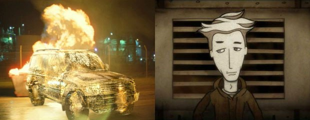 [FIGURE 2-3] Ice vehicle from a Toyota Prado commercial, and a scene from Telemetry Orchestra's music video Under the Cherry Tree. Image courtesy of Animal Logic
