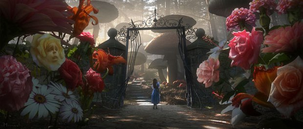 Sony's work on Alice in Wonderland is complex: handling all of the size differences, all of the characters and some of the rich environments. Courtesy of Walt Disney Pictures.