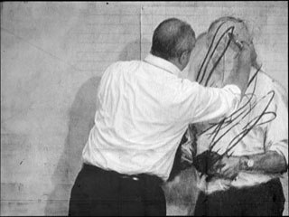 William Kentridge, Invisible Mending (still), from 7 Fragments for Georges Melies, 2003; Collection of the artist, courtesy Marian Goodman Gallery; © 2008 William Kentridge; photo: John Hodgkiss, courtesy the artist.