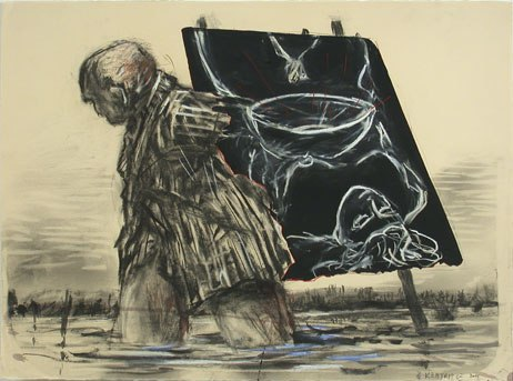 William Kentridge, Untitled [Artist and Model Drawing], 2001; Collection of Heidi L. Steiger; © 2008 William Kentridge; photo: John Hodgkiss, courtesy the artist.