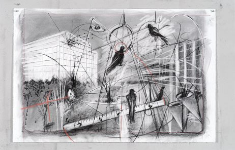 William Kentridge, Drawing for the opera The Magic Flute, 2004–5; Collection of the artist, courtesy Marian Goodman Gallery, New York; © 2008 William Kentridge; photo: John Hodgkiss, courtesy the artist.