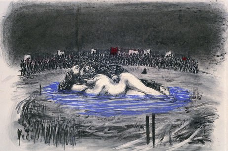 Drawing for the film Sobriety, Obesity & Growing Old [Soho and Mrs. Eckstein in Pool], 1991; Collection of the artist; © 2008 William Kentridge; photo: John Hodgkiss, courtesy the artist.