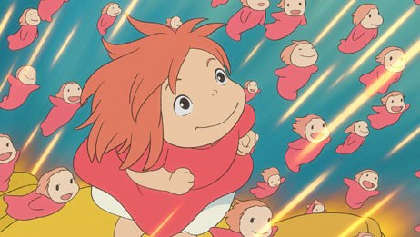 Ponyo has sprouted arms and legs and races with her siblings to the surface of the sea.