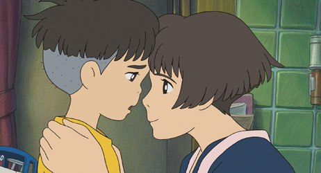Sosuke and his mother Lisa share a tender moment in Ponyo.