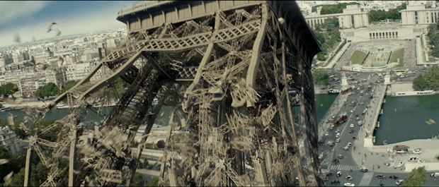 For the destruction of The Eiffel Tower, Digital Domain had to write the code so that procedurally when it detected no more connections for a piece of metal, it would know to drop.