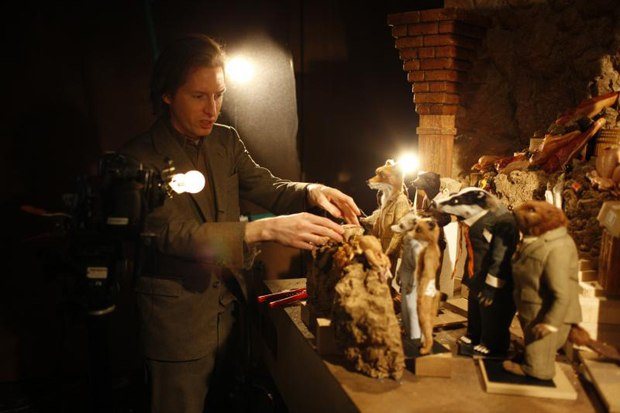 Anderson on the set of Fantastic Mr. Fox at Three Mills in London. His fascination with fine detail is fascinating. Photo Credit: Greg Williams.