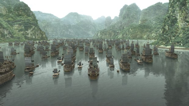 The fleet had to be computer-generated, the terrain needed to be replaced with 2.5D mattes and the water needed to be simulated.