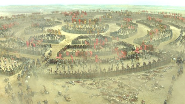 CafeFX also tackled the Tortoise Shell Formation battle, which required generating an inventory of horses and soldiers, lots of sim work as well as more mattes.