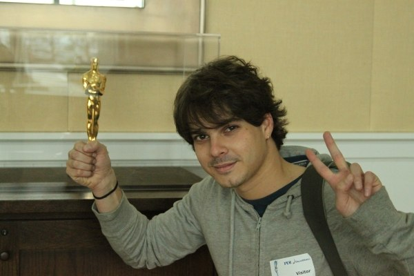 Javier accepting Dreamworks' first animated feature Oscar