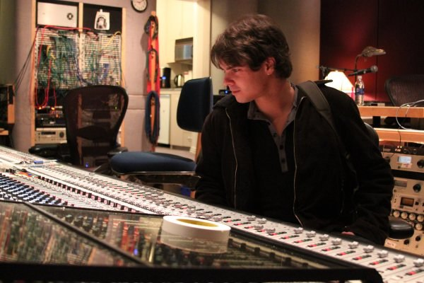 Javier at the sound mixing board