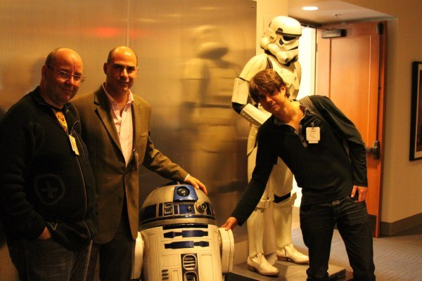 Raul, Enrique and Javier discuss short film financing with R2D2